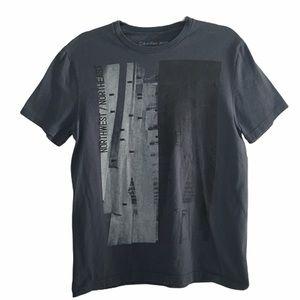 Calvin Klein Mens Gray Graph Tee. Size Medium